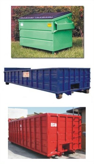 Green, blue, and red bins